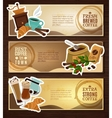 Coffee Vintage Flat Banners Set Brown vector image