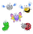 Five funny beetles vector image
