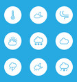 climate outlines set collection of breeze cloud vector image