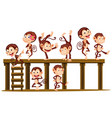 monkeys playing on the wooden level vector image
