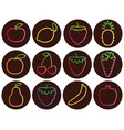 outline fruit and berries icons with gradient set vector image