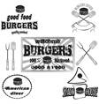 Burgers house poster on chalkboard and set logos vector image
