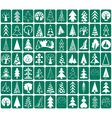 coniferous and deciduous trees icons vector image