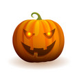 halloween pumpkin with evil face and flame in eyes vector image