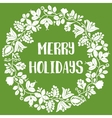 Merry Holiday card with christmas wreath on green vector image