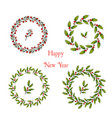 set of christmas and new year holly wreath vector image