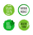 vegan round logos badges set of hand drawn bio vector image