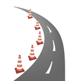 A Line of Warning Traffic Cones on Road vector image