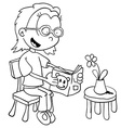 black and white little girl reading vector image