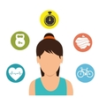 character girl fitness gym icons vector image