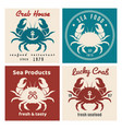 crab seafood shop or restaurant emblem set vector image