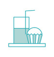 cupcake and glass milk beverage breakfast food vector image