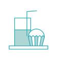 cupcake and glass milk beverage breakfast food vector image