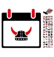 Horned Helmet Calendar Day Flat Icon With vector image