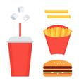 Fast food set french fries soda cheeseburger vector image