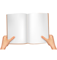 hands holding open book vector image vector image