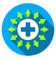Pharmacy Distribution Flat Round Icon with Long vector image