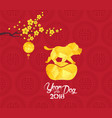 chinese new year 2018 lantern and blossom year of vector image