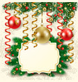 christmas background with baubles and label vector image