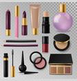 realistic cosmetic paks make-up bottle luxury vector image