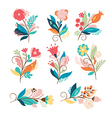 set of cute cartoon flowers vector image