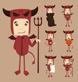 Set of devil characters poses vector image
