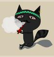 the cat clears a pipe shaman cute black cartoon vector image
