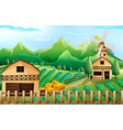 Farmland with barn and windmill vector image vector image