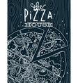 Poster pizza wood blue vector image vector image