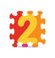 number 2 written with alphabet puzzle vector image