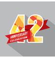 42nd Years Anniversary Celebration Design vector image