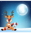 Cartoon of baby deer holding Christmas candy vector image vector image