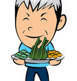 Old man with thai candy vector image