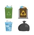 Garbage trash bin flat vector image