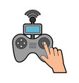 hands human with drone remote control icon vector image