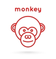 Line style logotype template with a monkey vector image