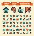 Outline Grunge Web Icons Set vector image