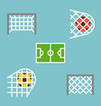 set of shooting football strike and soccer goal vector image