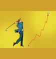 businessman golf shot profit graph vector image