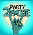 Logo zombie party zombie hand shows rock gesture vector image