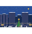 Christmas night town vector image