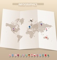 Map and flags of different countries vector image vector image