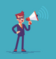 businessman holding megaphone and shouting in it vector image