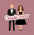 couple in black dress and tux vector image