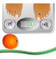 Graphic of Feet on a Scale Machine vector image