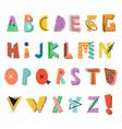 memphis alphabet colorful funny font fashion 80 vector image