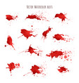 set of bloody red watercolor blots splashes vector image