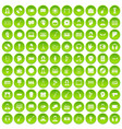 100 audience icons set green circle vector image