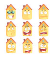 cute cartoon humanized house with with many vector image
