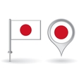 Japanese pin icon and map pointer flag vector image